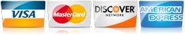 We Accept Visa, Mastercard, Discover, Amex